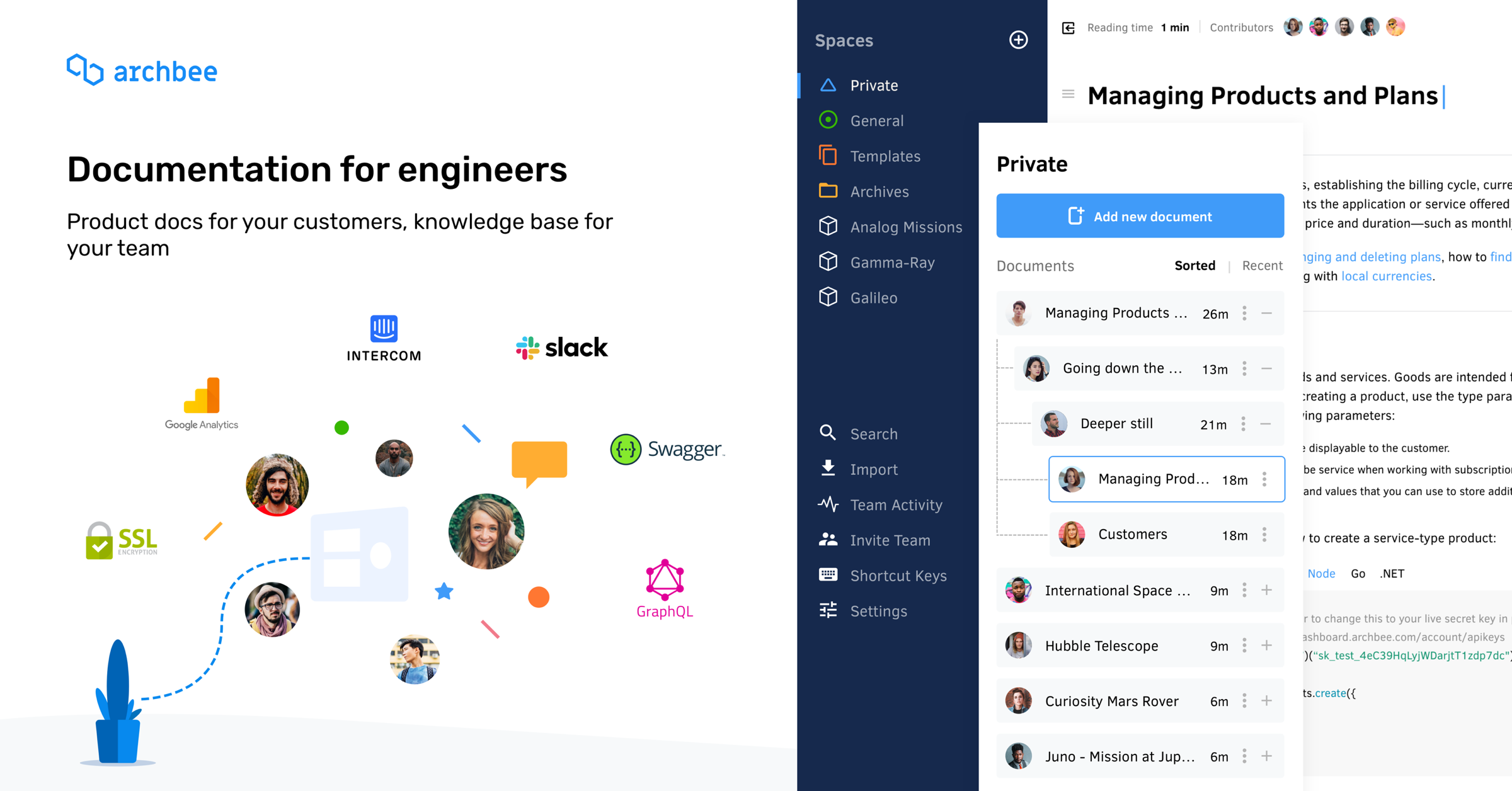 Archbee is a  knowledge management system for technical teams